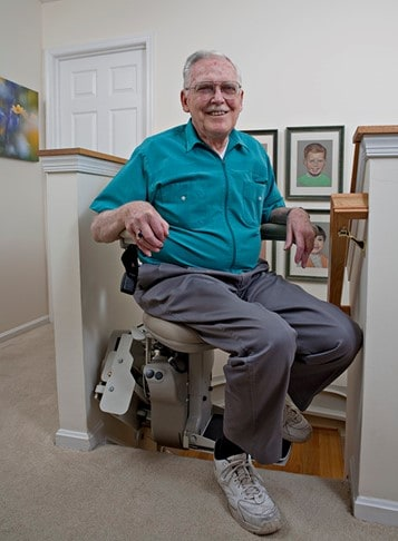 """Stair lifts allows access to upper and lower levels of homes for Safety & Beautiful Accessibility℠ a great example of """"Aging in Place"""""""